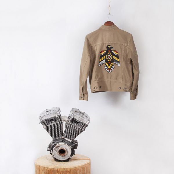 shangri-la-heritage-single-rider-army-green-canvas-jacket-sparviero-thunderbird-still-life-back-engine-square