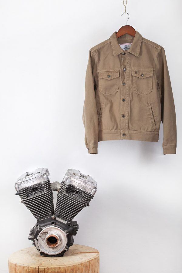 shangri-la-heritage-single-rider-army-green-canvas-jacket-still-life-front-engine
