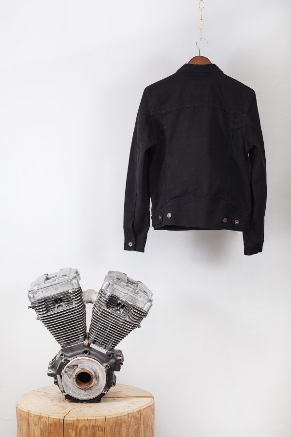 shangri-la-heritage-single-rider-black-canvas-jacket-still-life-back-engine