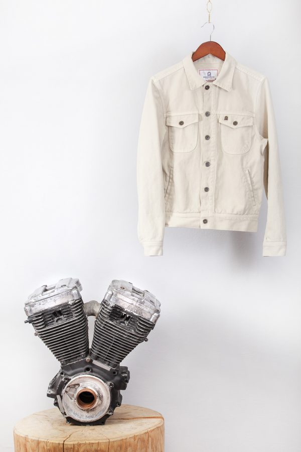 shangri-la-heritage-single-rider-ivory-canvas-jacket-still-life-front-engine