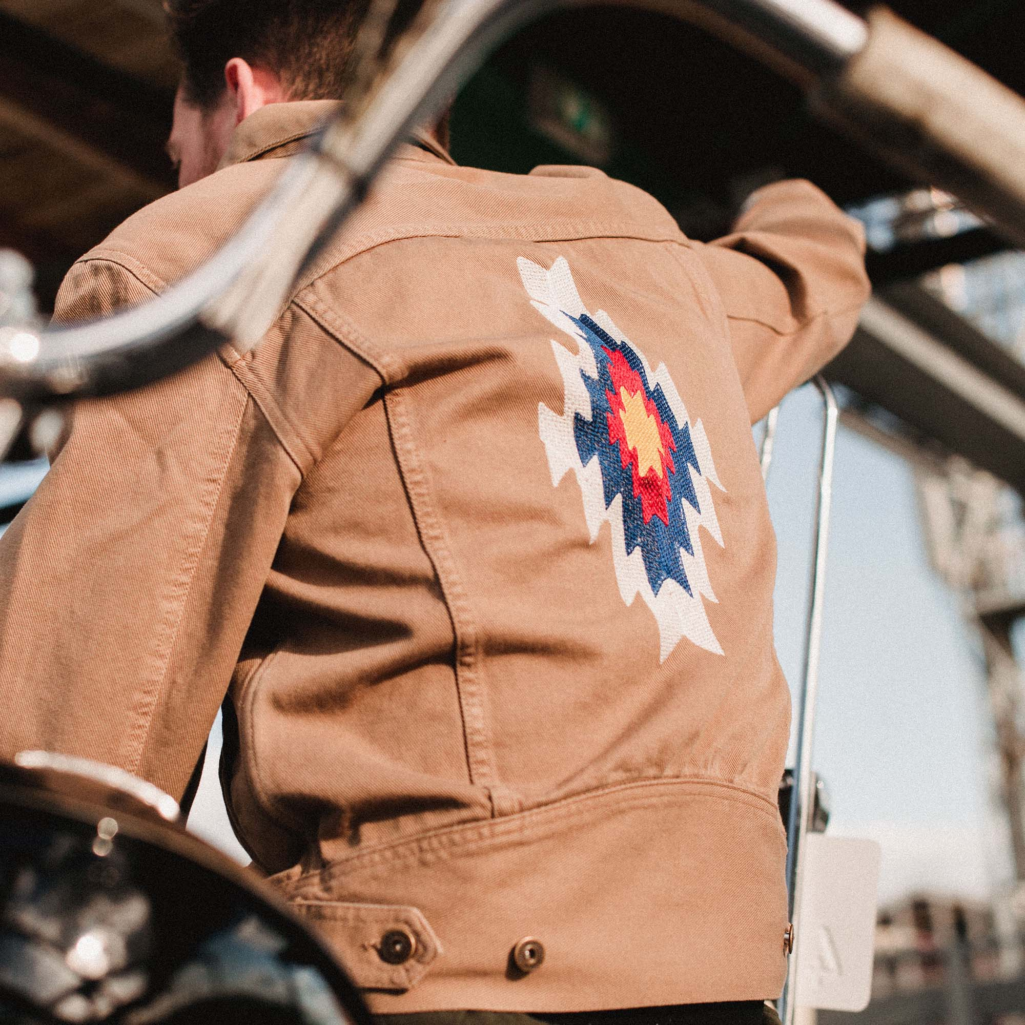 shangri-la-heritage-new-single-rider-sparviero-navajo-army-green-canvas-jacket-lifestyle-3