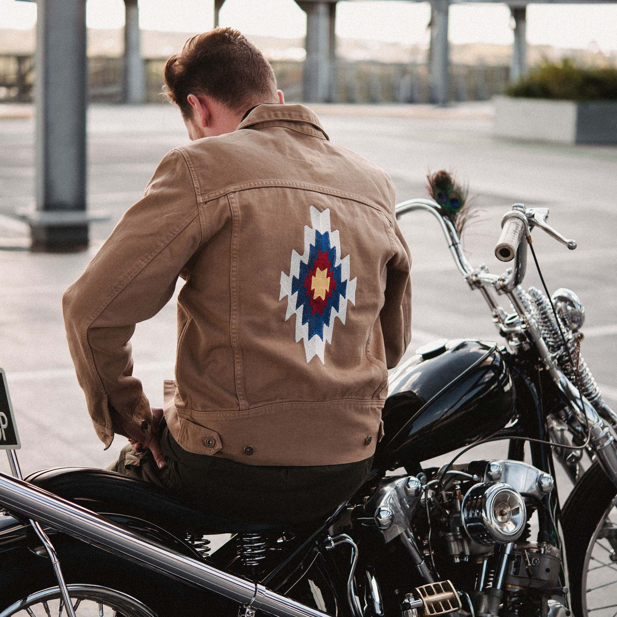 shangri-la-heritage-new-single-rider-sparviero-navajo-army-green-canvas-jacket-lifestyle-4
