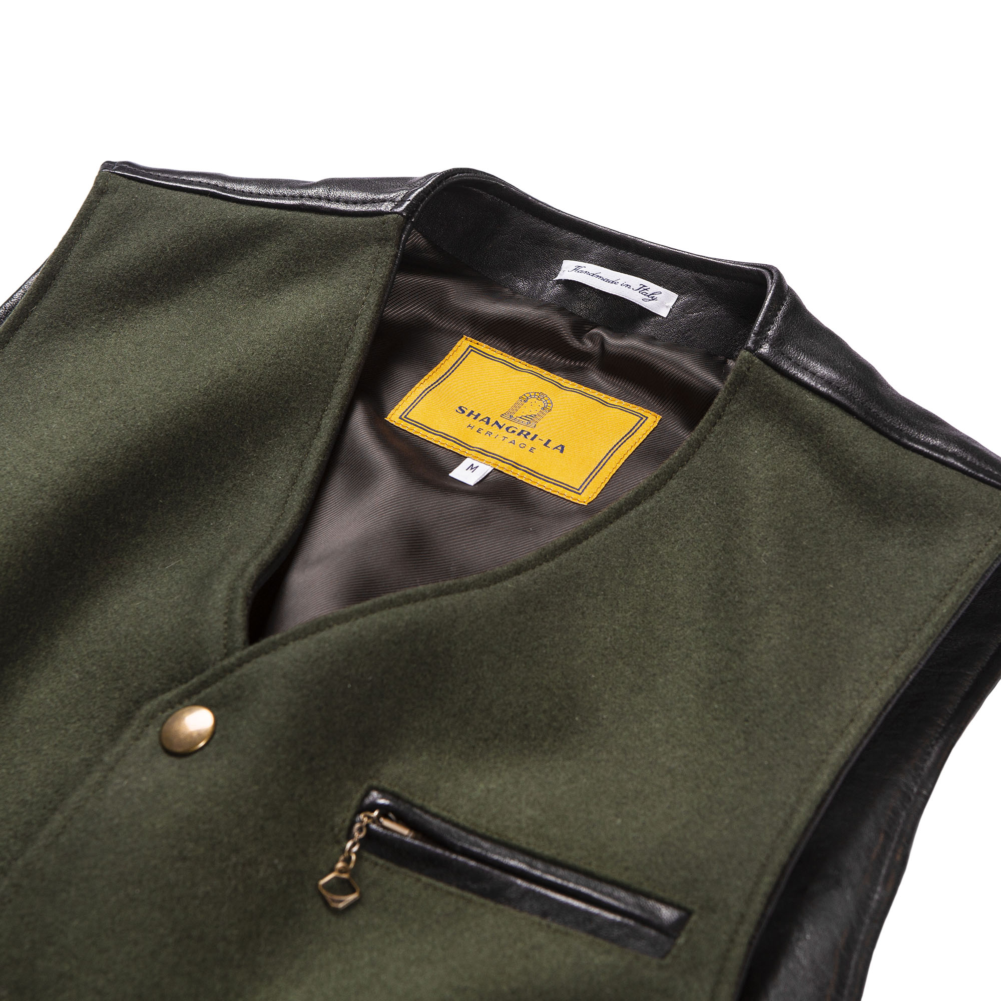 shangri-la-heritage-mandriano-forest-green-wool-vest-still-life-front-detail