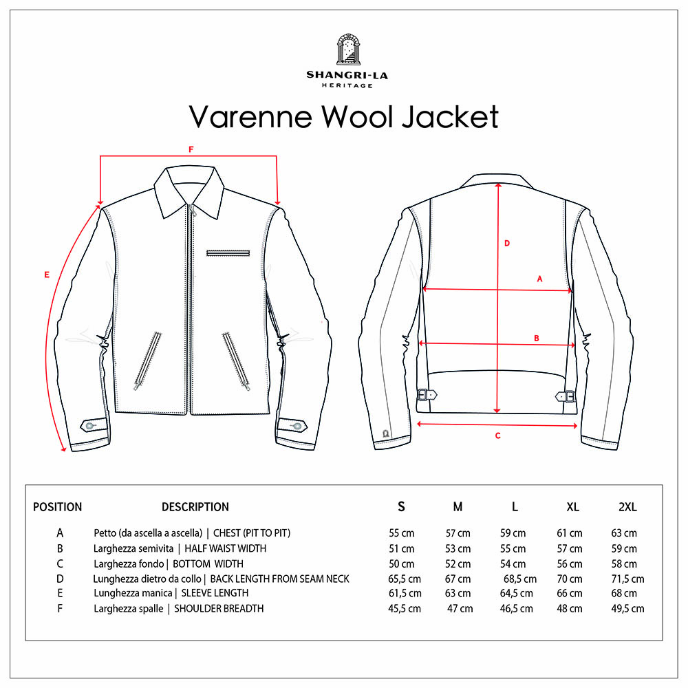 VARENNE WOOL size guide