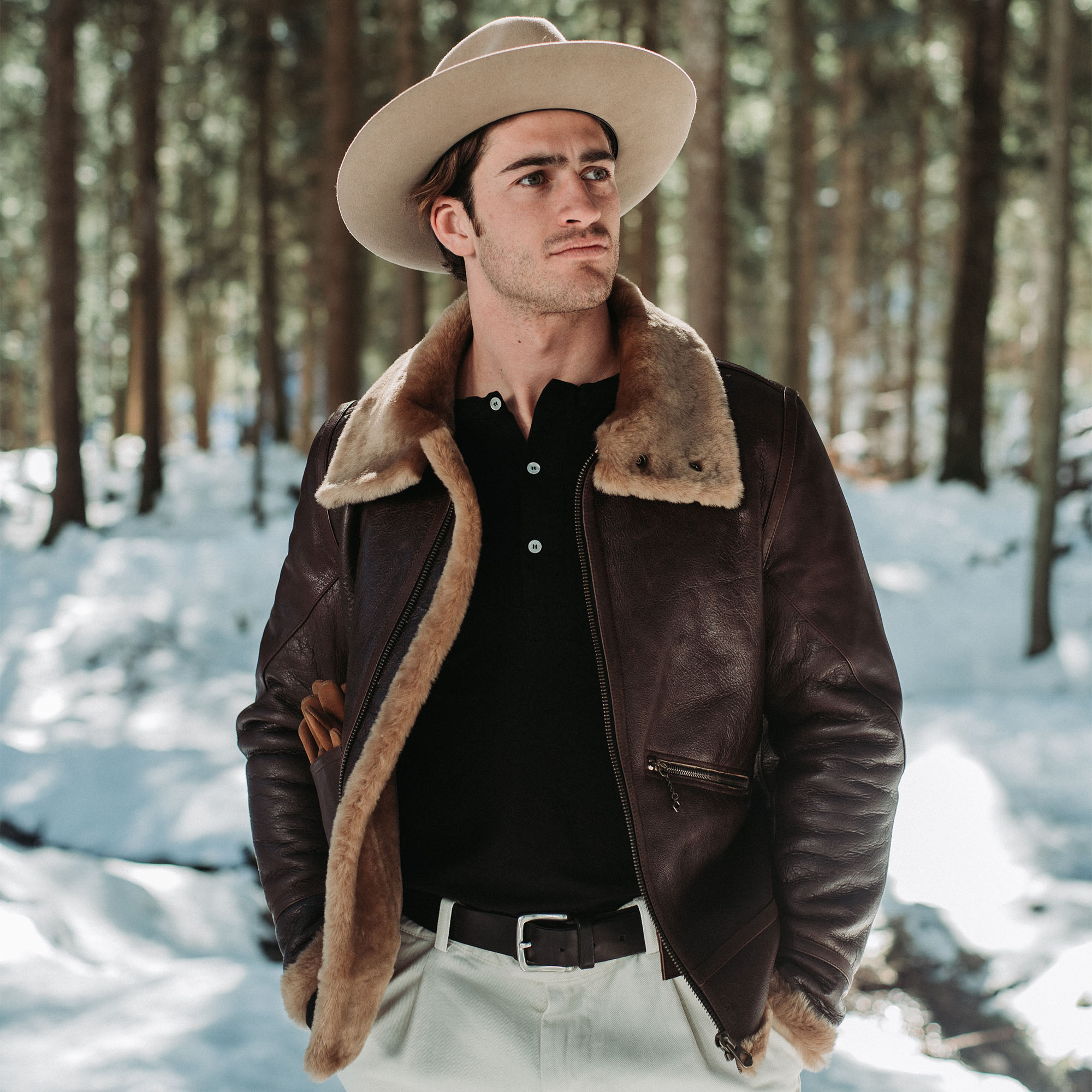 shangri-la-heritage-aviatore-b-3-seal-brown-shearling-sheepskin-jacket-furia-western-hat-explorator-pant-lifestyle-1