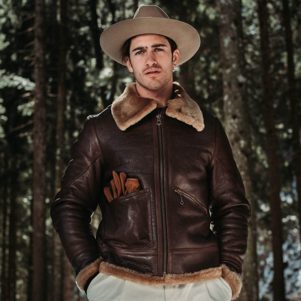 shangri-la-heritage-aviatore-b-3-seal-brown-shearling-sheepskin-jacket-furia-western-hat-explorator-pant-lifestyle-2