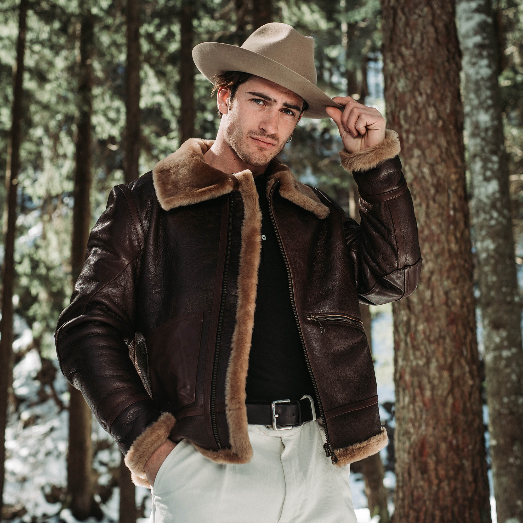 shangri-la-heritage-aviatore-b-3-seal-brown-shearling-sheepskin-jacket-furia-western-hat-explorator-pant-lifestyle-3