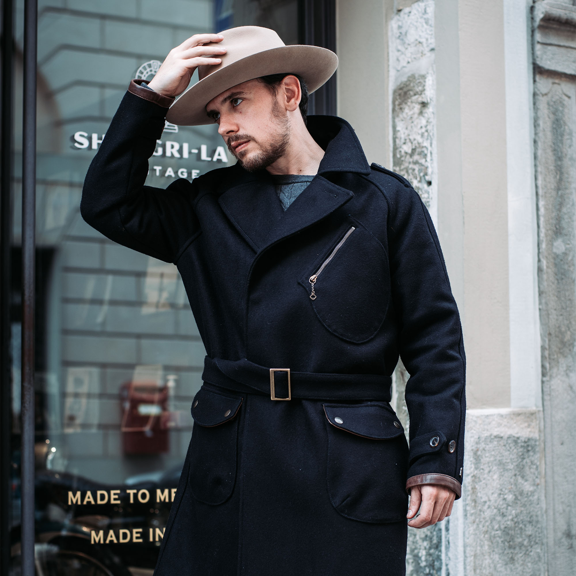 shangri-la-heritage-stelvio-navy-blue-melton-wool-dispatch-rider-coat-furia-western-hat-lifestyle-1