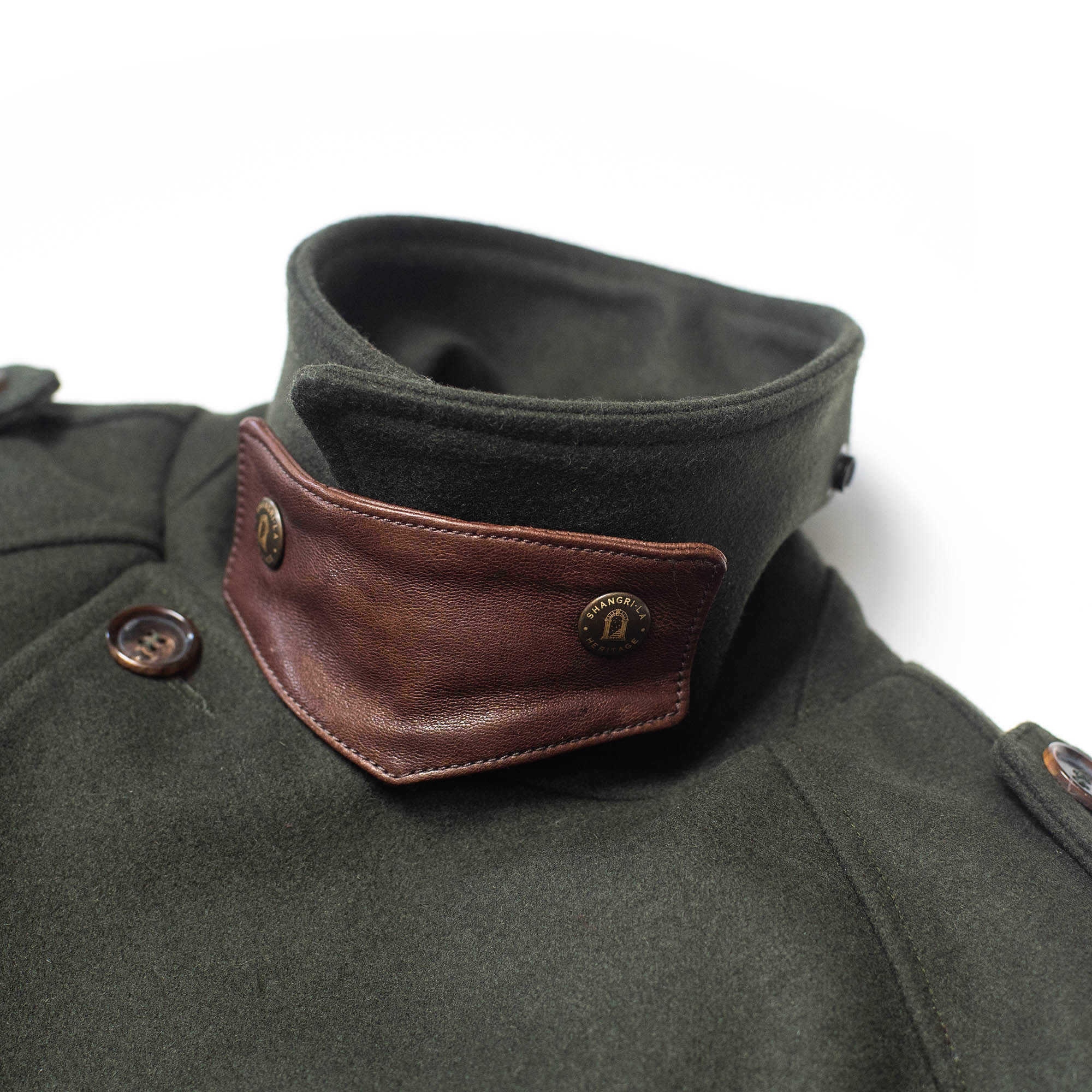 shangri-la-heritage-stelvio-forest-green-melton-wool-dispatch-rider-coat-still-life-collar