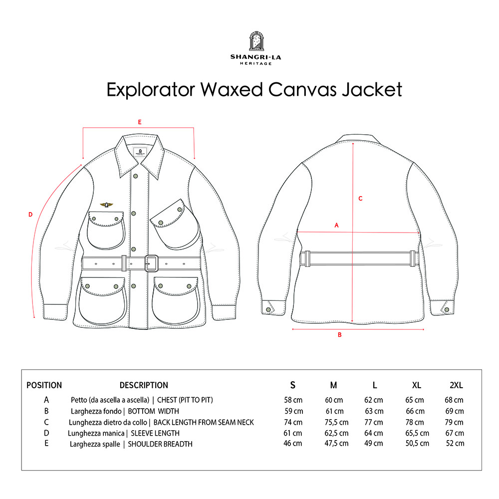EXPLORATOR WAXED CANVAS JACKET SIZE GUIDE