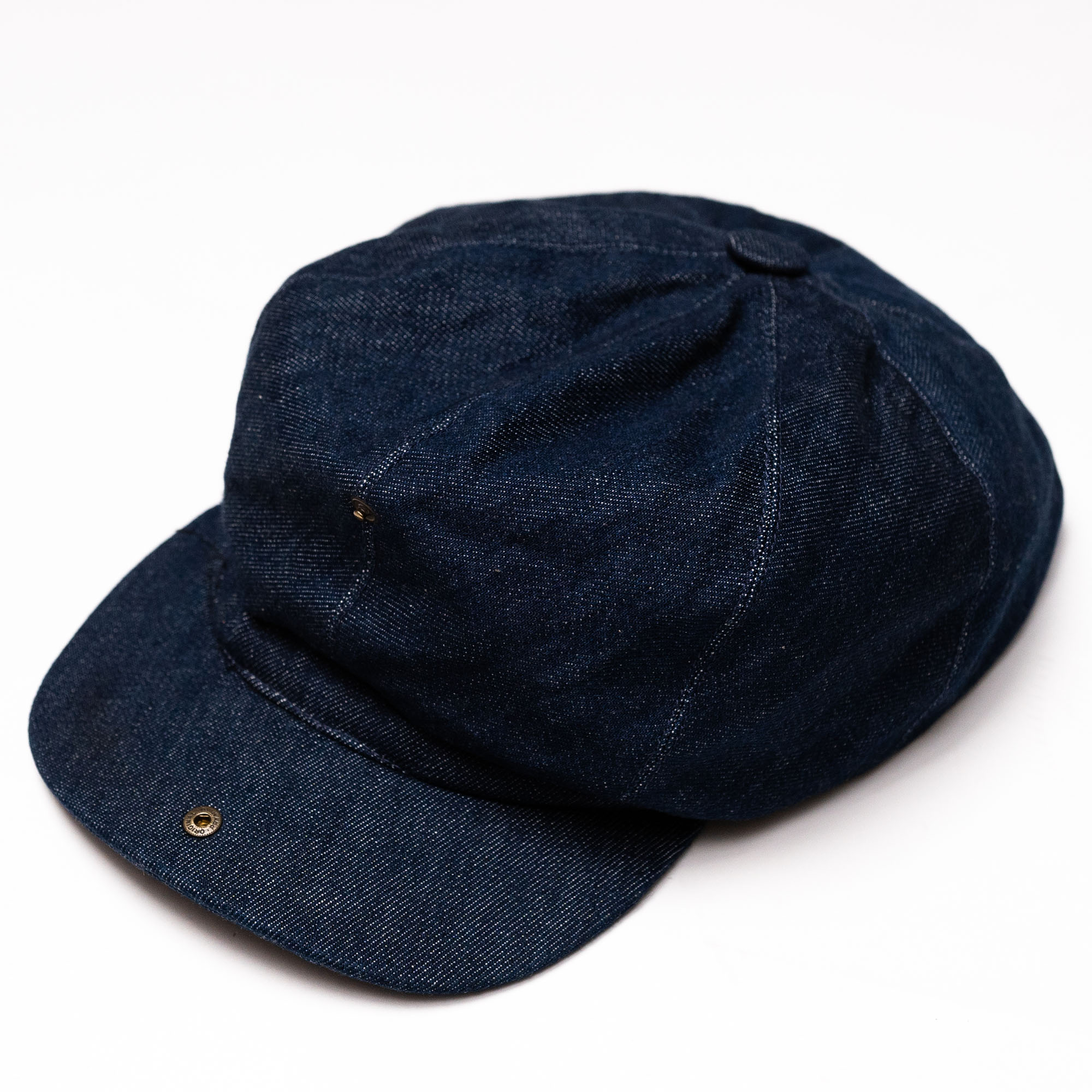 shangri-la-heritage-outlaw-selvedge-candiani-denim-8-panel-riders-cap-still-life-open