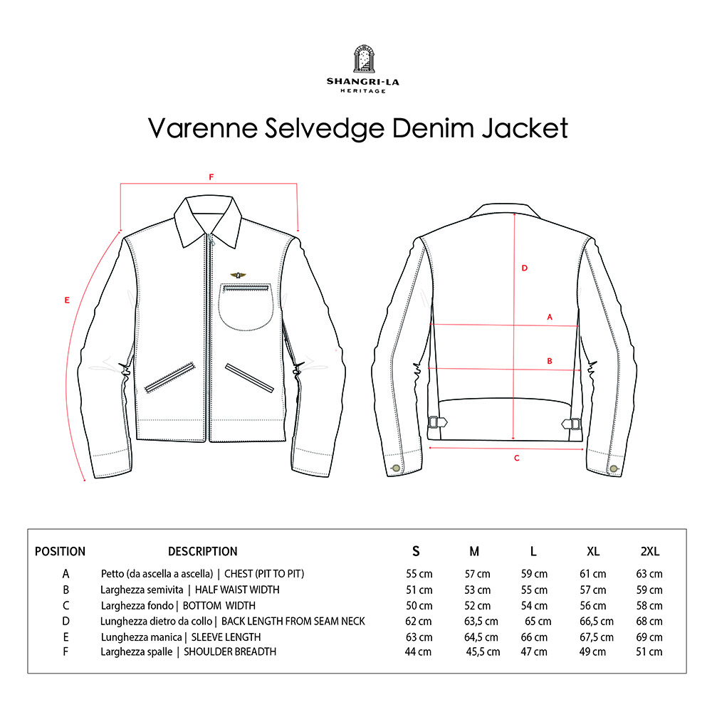 VARENNE SELVEDGE DENIM JACKET SIZE GUIDE