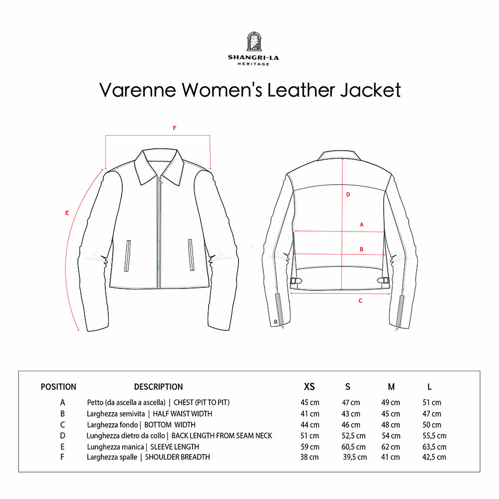 VARENNE WOMENS LEATHER JACKET SIZE GUIDE copia